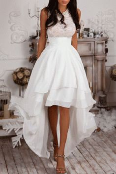 Sleeveless High Low White Prom Dress,Homecoming Dress,Party Dresses