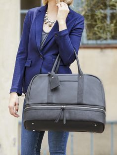 Grey travel satchel perfect for weekend trips or as a gym or hospital bag | Sole Society Mason