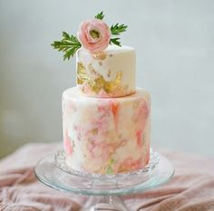 Marbled watercolor cake