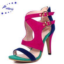 Polaris 2016 Sandálias Das Mulheres Plus Size 33-43 Moda Zip Alta Sapatas Da Bomba Das Mulheres do Verão do salto Escritório Mulher Preto Azul Vermelho SS612(China (Mainland))