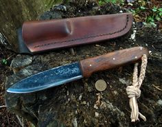 A Custom ML Knives Woods and bush knife with ironwood