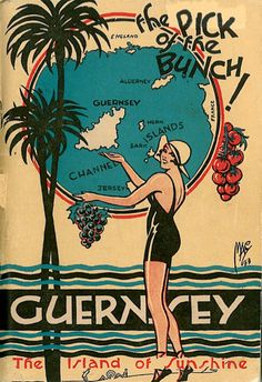 "Guernsey,""The Pick of the Bunch"" Channel Islands Vintage travel beach poster #deco - www.varaldocosmetica.it/en"