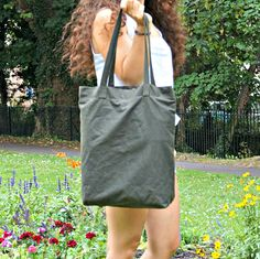 Olive Green Wax Coated Tote Bag - Large Canvas Tote Bag - Wax Coated Large Shoulder Bag -  style: On the Go Tote Bag by theWatermelonDesign on Etsy