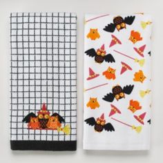 Halloween Witch Owl Family Broom Toss 2-pk. Kitchen Towels