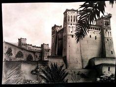 Citadelle marocaine (KASBA) - (photo prise avec effet noir et blanc pour plus de contraste)