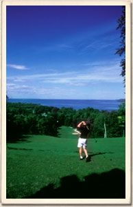 Drive off the bluff on our signature hole -- number 9 Blue!