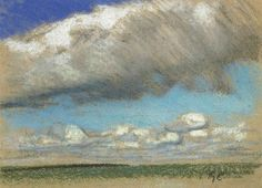 George Clausen British, Cloud Study Above Open Country Cloud study. Coloured chalks, on buff paper, x 14 in. Impressionist Landscape, Landscape Paintings, Landscapes, Oil Paintings, Colored Chalk, English Artists, Royal College Of Art, Big Sky, Artist At Work