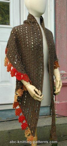 ABC Knitting Patterns - Fall Leaf Stole Shawl Patterns, Knitting Patterns, Crochet Patterns, Crochet Poncho, Free Crochet, Autumn Leaves, Shawls, Scarves, Fashion