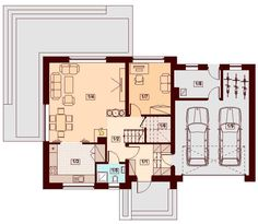 Proiect casa CSD 013 Malaga, House Plans, Floor Plans, How To Plan, House Styles, Interior, Modern, Design, Country Houses