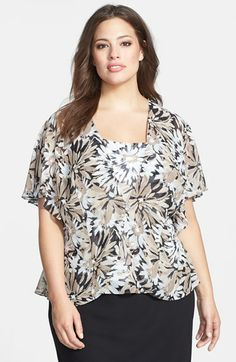 Alex Evenings Print Flutter Sleeve Chiffon Twinset (Plus Size) available at #Nordstrom