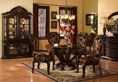 This Lushly Decorated Dining Set Features Detailed Carvings And Gold  Accents. 5 PC Dining Room