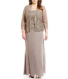 Ignite Evenings Plus Beaded Lace Jacket Dress #Dillards