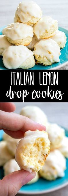 Italian Lemon Drop Cookies are a delicious dessert that's easy to make and SO yummy! With a big burst of citrus flavor, I bet you can't eat just one! BreadBoozeBacon Italian cookies lemon is part - Italian Lemon Cookies, Lemon Drop Cookies, Italian Cookie Recipes, Easy Italian Desserts, Easy Delicious Desserts, Drop Cookie Recipes, Italian Lemon Cake, Italian Snacks, Lemon Shortbread Cookies