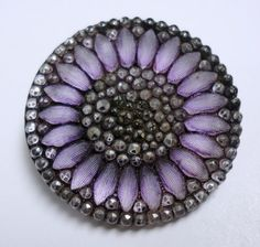 Antique Deluxe Lacy Silver Luster Amethyst Glass Button 2 Way Hump Shank 19th C   eBay