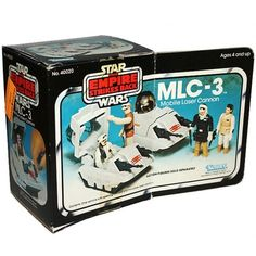 "The box for the MLC-3 mini-rig, a small tank-like Mobile Laser Cannon that appeared only in the Kenner toy line for ""Star Wars: The Empire Strikes Back"""