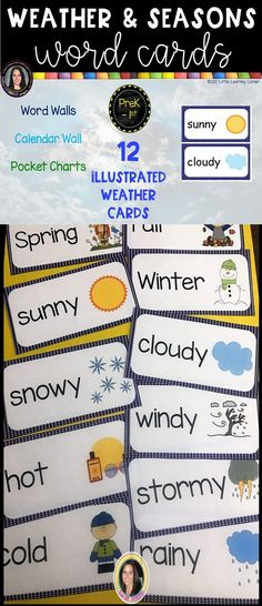 Weather and Seasons Vocabulary Word Wall Cards Calendar Wall, Calendar Time, Vocabulary Word Walls, Vocabulary Cards, Summer Fall, Fall Winter, Seasonal Bulletin Boards, Weather Cards, Science Words