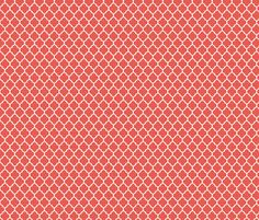 Fabric for valances- moroccan quatrefoil lattice in coral fabric by spacefem on Spoonflower - custom fabric