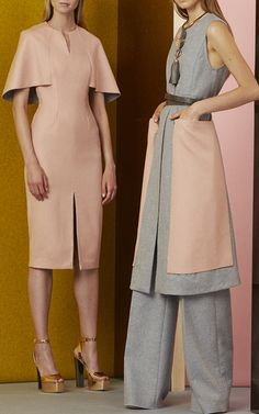 Nude blush coloured midi dress and a colour block outfit in light grey and nude blush. LELA ROSE, resort 2017