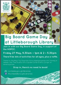 NSPCC Big Board Game Day  AT Littleborough Library This Friday #BoardGameDay Support NSPCC
