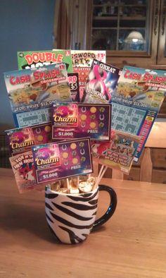 Scratch ticket bouquet Lottery Ticket Tree, Lotto Tickets, Raffle Baskets, Gift Baskets, Fundraiser Baskets, Money Trees, Diy Birthday, Birthday Gifts, Birthday Stuff