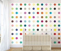 'Dots Wallpaper by Merenda Wallpaper. Accent Wallpaper, More Wallpaper, Custom Wallpaper, Wallpaper Roll, Unique Wall Art, Unique Home Decor, Damien Hirst Paintings, Ceramic Wall Art, Wall Installation