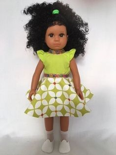 Mixed Race/Biracial/Light Brown Doll with Black Curly Hair Black Curly Hair, White Hair, White Underwear, Daisy Mae, Mixed Race, Handmade Dresses, White Shoes, Printed Skirts, Curly Hair Styles