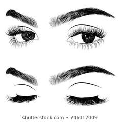 Hand-drawn woman's fresh makeup look with perfectly perfectly shaped eyebrows and extra full lashes. Idea for business visit card, typography vector.Perfect salon look Eyebrows Sketch, Face Sketch, Doll Drawing, Makeup Drawing, Eyelash Studio, Fresh Makeup Look, Drawings Pinterest, Eyelash Technician, Makeup Face Charts