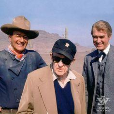 John Wayne, John Ford and Jimmy Stewart on the set of The Man Who Shot Liberty Valence.