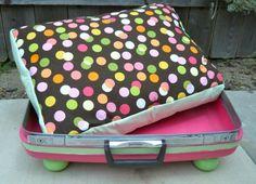 polka dot2 Thirteen Aww Inspiring Pet Beds Made from Repurposed Suitcases
