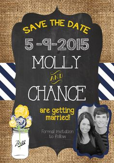 Any Color WEDDING MASON Jar Vintage Country BURLAP Chalkboard Navy Blue Yellow Stripes Floral Wedding Brunch Rehearsal Save the Date Invitation