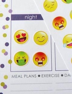 Emojis/Emoticons Planner Stickers for Erin Condren Planner, Filofax, Plum Paper