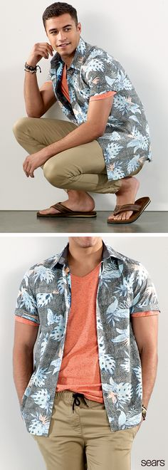 This season, men's summer fashion is rewinding to the '50s. Work this trend into your wardrobe with a retro button-down in a bold, summer-ready print. Think floral, plaid, striped, and all things nautical. Keep the look modern with the twill jogger pants from Amplify, and add your favorite sandals and accessories for a personal touch. Discover more at Sears – the perfect button-down shirt is just a click away.