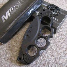 Brass Knuckles w/Hidden Knife & Neck Chain - MTech