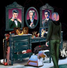 Nice fan art. I kind of imagine there's a place like this either inside the Doctor's mind, or somewhere in the TARDIS.