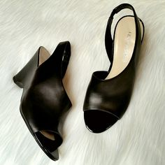 Franco Sarto Tahoe Pumps Black slingback open-toe wedge pumps.  Worn once! Like new condition.  Size 8M Franco Sarto Shoes