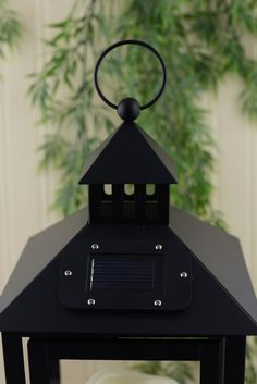LED Solar Lantern Solar Black 14in