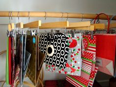 Itsy Bits And Pieces is all about home decor and DIY using new and vintage finds. You'll find home tours, seasonal decor, projects, and makeovers! Gift Bag Organization, Gift Bag Storage, Holiday Storage, Holiday Ideas, Holiday Decor, Seasonal Decor, Sweet Home, Arts And Crafts, Hangers