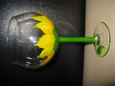 Sunflower, hand painted wine glass