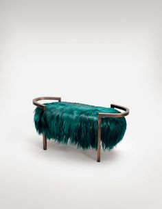 Bench from Francis Sultana - teal, hairy, awesome. From the Yana Collection.