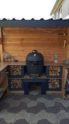 Big Green Egg Outdoor Kitchen, Outdoor Kitchen Design, Outdoor Barbeque, Outdoor Oven, Field Shelters, Grill N Chill, Bbq Area, Terrace Design, Galway Ireland