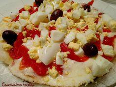 PIZZA 7 MINUTOS DE MORRONES Y HUEVOS - sin horno ni levadura - | Caserissimo  http://caserissimorecetas.blogspot.com.ar/2017/06/pizza-7-minutos-de-morrones-y-huevos.html