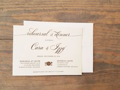 This modern and elegant rehearsal invitation is printed on soft white or ivory cover stock.  We are showing ours printed in a dark gold color (not metallic) but you can customize this design to your color choice.  The 5 x 7 invitation comes with a matching square flap envelope.