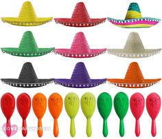 6ac6f2937920 Mexican sombrero hat and maracas wild west bandit fancy dress costume  accessory