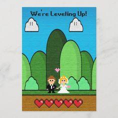 Gaming Level Up Wedding Invitations Wedding Invite Wording Funny, Wedding Invitation Wording Examples, Purple Wedding Invitations, Vintage Invitations, Invitation Design, Custom Invitations, Invites, Wedding Stationary, Video Game Wedding