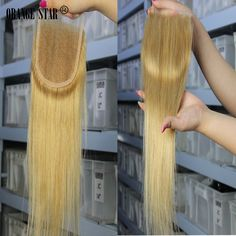 Brazilian Blonde Hair Weave Lace Closure Virgin 27# Human Hair Extensions Weft #orangestar #Straightlaceclosure