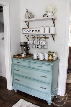 Gorgeous Aqua Dresser with 2 Paint Washes AND Hints of Gold Turned Coffee Bar! - Gorgeous Aqua Dresser with 2 Paint Washes AND Hints of Gold Turned Coffee Bar! Coffee Bar Station, Home Coffee Stations, Coffee Station Kitchen, Tea Station, Coffee Bars In Kitchen, Coffee Bar Home, Diy Coffe Bar, Coffee Bar Ideas, Repurposed Furniture