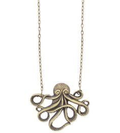 charm necklace | Octopus Charm Necklace - Antique Gold Finish
