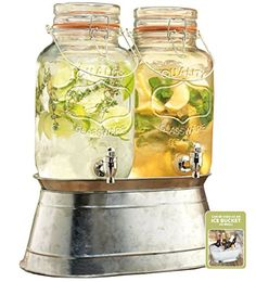 2 Glass Beverage Dispensers 1gal Each with Locking Clamps and Handles Ice Bucket Base S-smart http://www.amazon.com/dp/B00LFW81XU/ref=cm_sw_r_pi_dp_X40Fvb00SJAG1