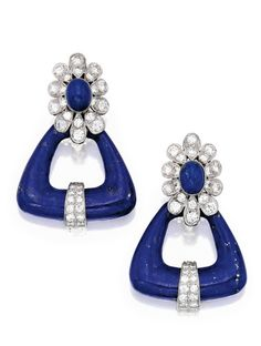PAIR OF 18 KARAT WHITE GOLD, LAPIS LAZULI AND DIAMOND EARRINGS, VAN CLEEF & ARPELS The lapis lazuli triangles with floral surmounts, set with round diamonds weighing approximately 3.30 carats, signed VCA, numbered NY 44658.