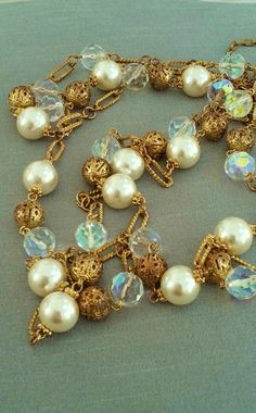 Vintage necklace, pearls, textured goldtone, glass beads, AB crystals, filigree beads, lobster clasp,  retro, boho, pearl necklace, jewelry by Passion4Retro on Etsy